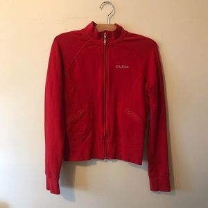 Guess Activewear Red Zip Up Sweater
